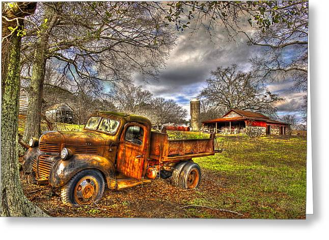Dump Truck Greeting Cards - A Resting Place On the Boswell Farm Greeting Card by Reid Callaway