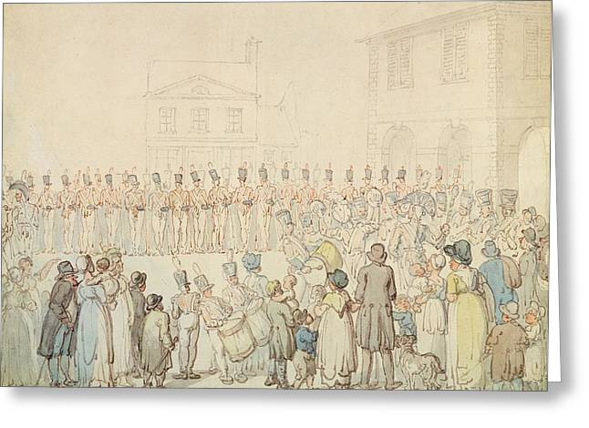 Army Photographs Greeting Cards - A Review Of The Northamptonshire Militia At Brackley, Northants Pen & Ink With Wc On Paper Greeting Card by Thomas Rowlandson