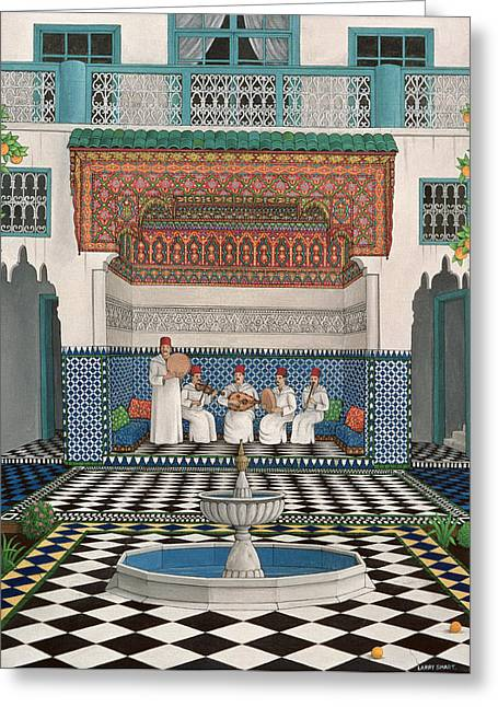 Recesses Greeting Cards - A Riad In Marrakech, 1992 Acrylic On Canvas Greeting Card by Larry Smart