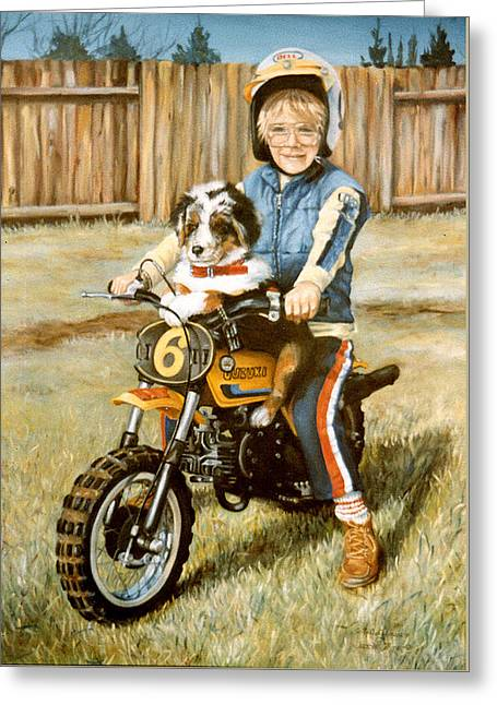 Kids Sports Greeting Cards - A ride in the backyard Greeting Card by Donna Tucker