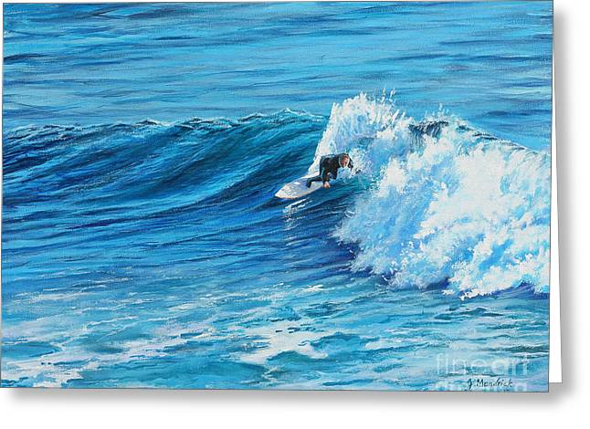 A Ride On Steamer Lane Greeting Card by Joe Mandrick