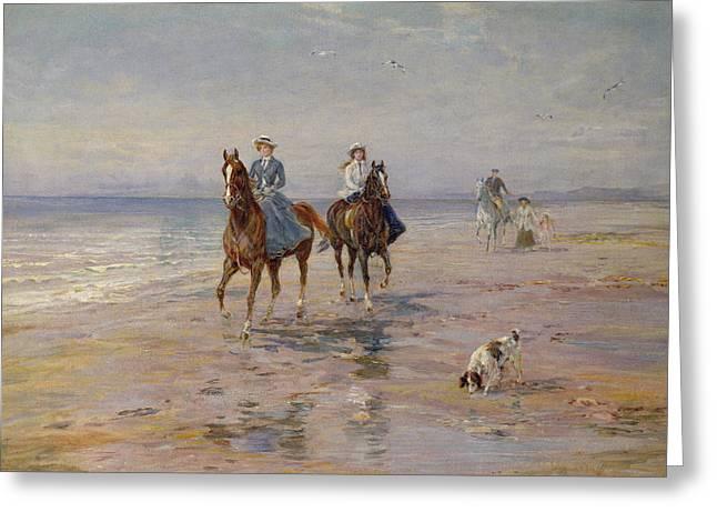 A Ride On The Beach, Dublin Greeting Card by Heywood Hardy