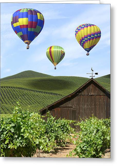 Hot Air Greeting Cards - A Ride Through Napa Valley Greeting Card by Mike McGlothlen