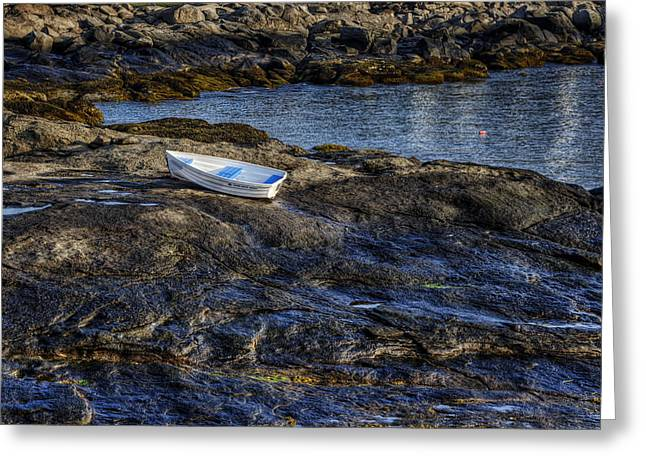 Maine Shore Greeting Cards - A Rising Tide Greeting Card by Joan Carroll