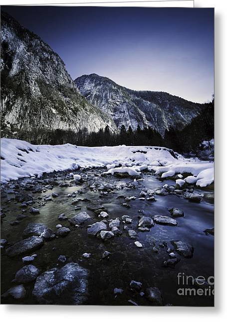 Snow Scene Landscape Greeting Cards - A River In A Forest Of Ritsa Nature Greeting Card by Evgeny Kuklev