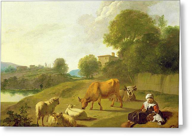 Rural Greeting Cards - A River Landscape With Cattle, Sheep Greeting Card by Simon van der Does
