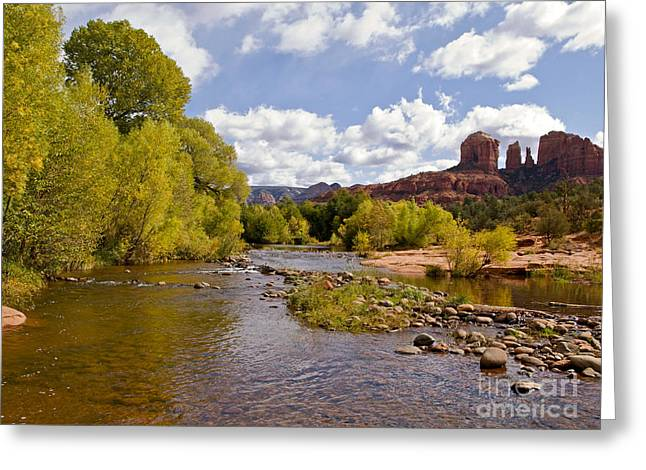 Cathedral Rock Greeting Cards - A River Runs Through It Greeting Card by Alex Cassels