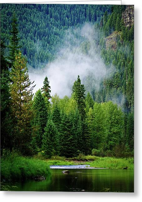 Log Cabin Digital Greeting Cards - A River Runs Through It  Greeting Card by Joseph Noonan