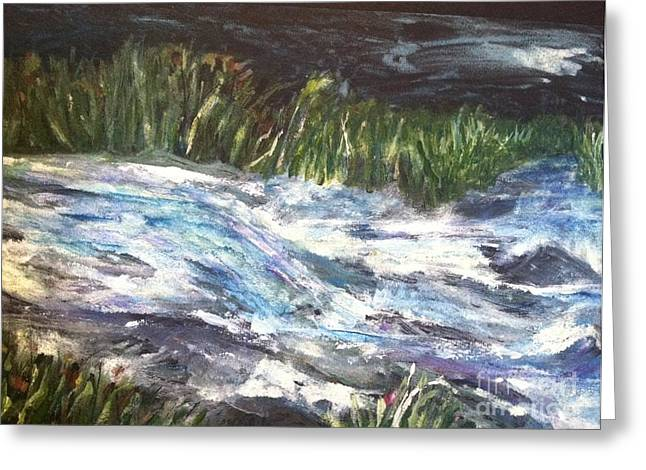 Wild Orchards Paintings Greeting Cards - A River Runs Through Greeting Card by Sherry Harradence