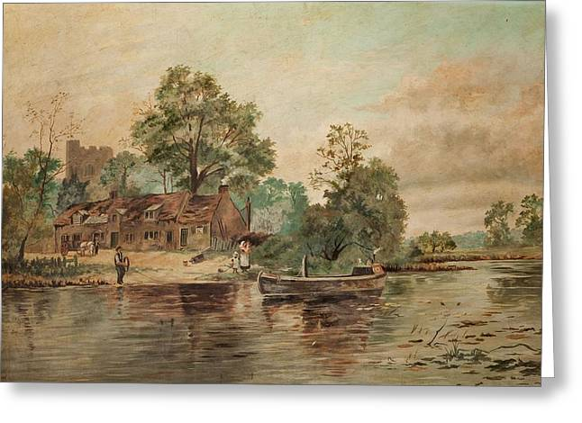 Rural Church Greeting Cards - A River Scene Greeting Card by Thomas Grimshaw