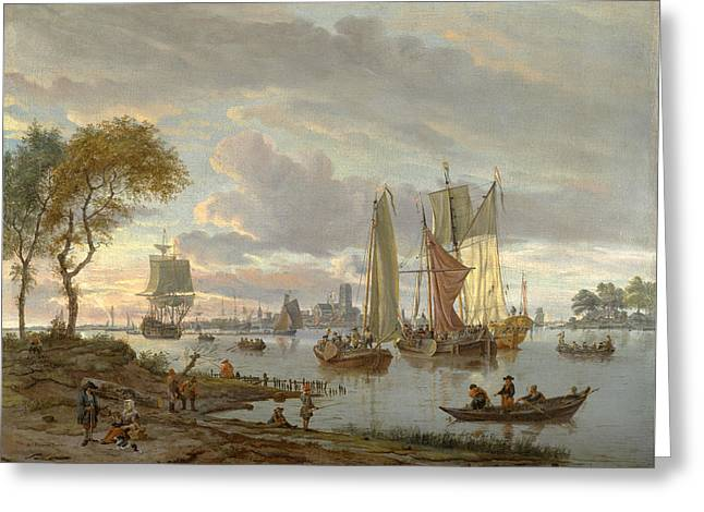 A River View Greeting Card by Abraham Storck