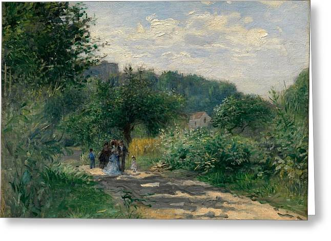 Road In Louveciennes Greeting Cards - A Road in Louveciennes Greeting Card by Pierre-Auguste Renoir