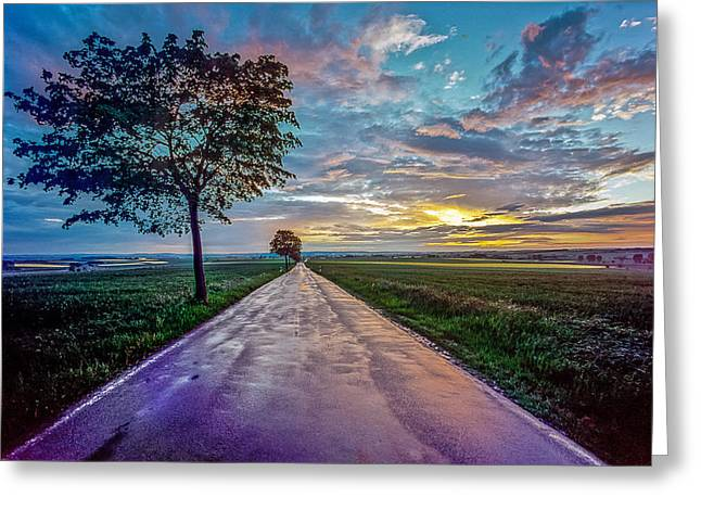 Rde Greeting Cards - A road reflecting the evening sky  Greeting Card by Martin Liebermann