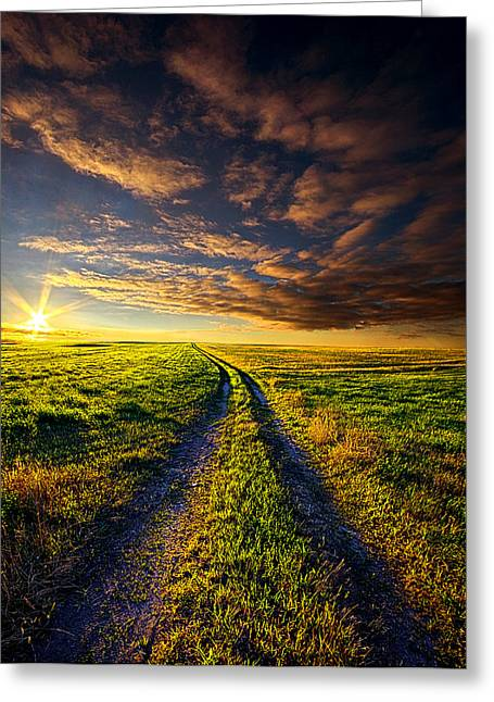 Dirt Road Greeting Cards - A Road to Nowhere in Particular Greeting Card by Phil Koch