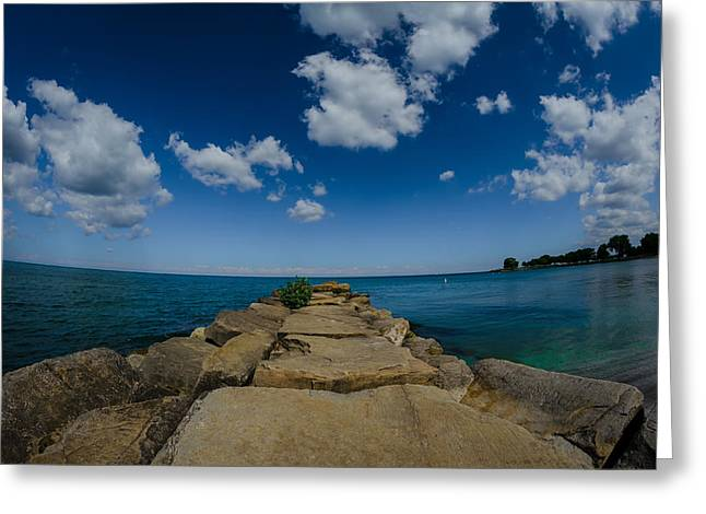 Bluesky Greeting Cards - Rock Pier  Greeting Card by Michael Demagall