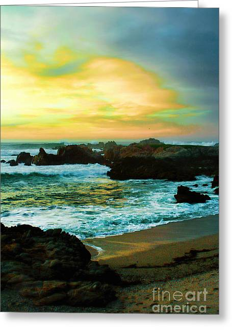 On The Beach Greeting Cards - A Rocky Sunset Greeting Card by Polly Peacock
