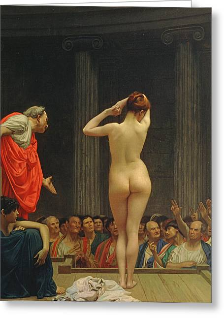 Odalisque Greeting Cards - A Roman Slave Market Greeting Card by Jean Leon Gerome