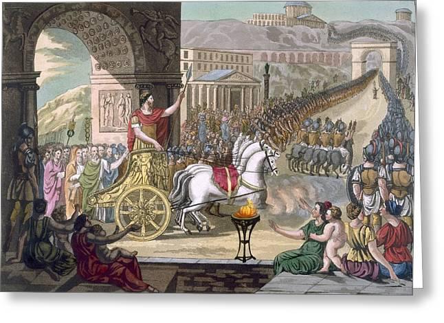 Leader Drawings Greeting Cards - A Roman Triumph, Illustration Greeting Card by Jacques Grasset de Saint-Sauveur