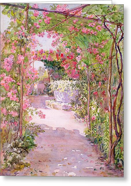 A Rose Arbor And Old Well, Venice Greeting Card by Ellen Fradgley