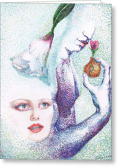 Pointillist Drawings Greeting Cards - A Rose for Her Greeting Card by William Killen