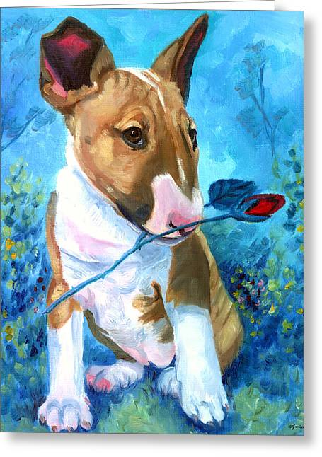Bull Terrier Greeting Cards - A Rose for Mom - Bull Terrier Greeting Card by Lyn Cook