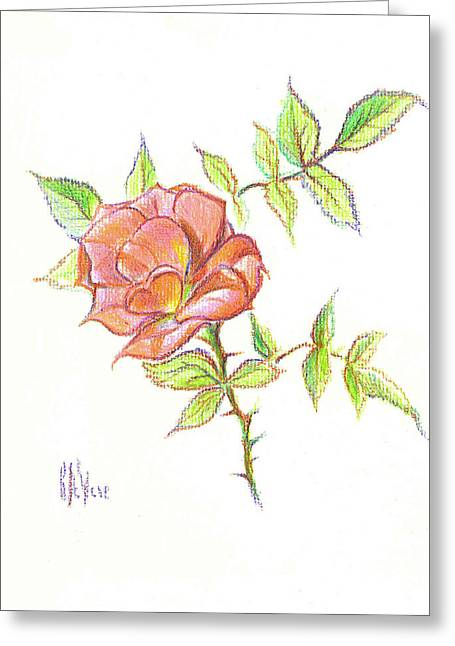 Floral Design Mixed Media Greeting Cards - A Rose in Brigadoon Greeting Card by Kip DeVore