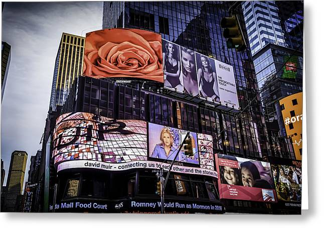 Times Square Pyrography Greeting Cards - A Rose is a Greeting Card by Tony James