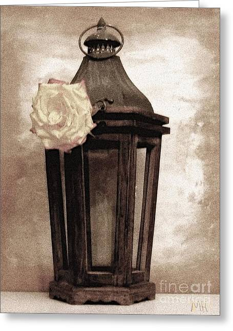 Lamplight Greeting Cards - A Rose Lamplight Greeting Card by Marsha Heiken