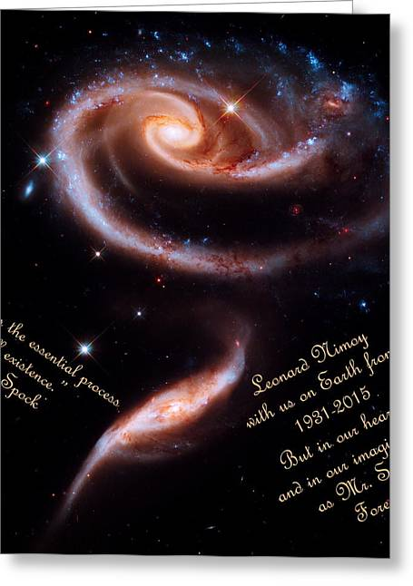 Fandom Greeting Cards - A Rose Made of Galaxies for Spock Greeting Card by Vicki Maheu