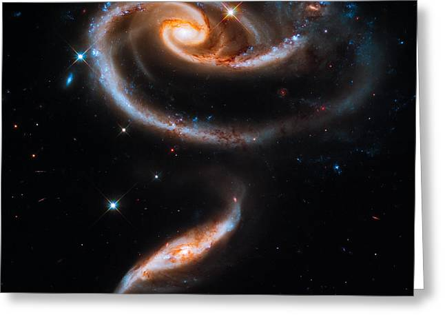 Interstellar Space Photographs Greeting Cards - A Rose Made of Galaxies Greeting Card by Marco Oliveira