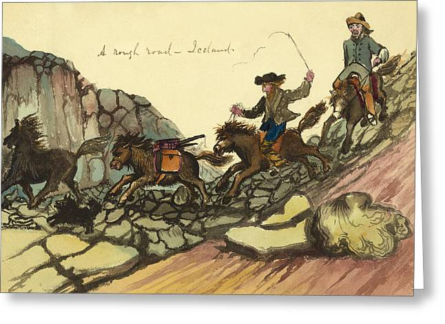 Norse Greeting Cards - A rough road in Iceland Circa 1862 Greeting Card by Aged Pixel