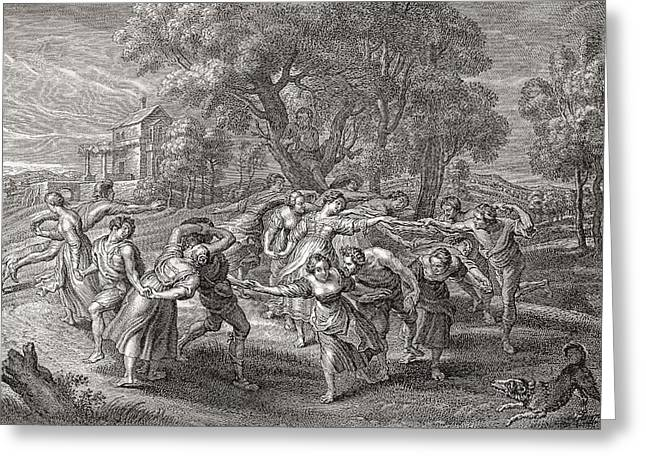 Folk Dancing Greeting Cards - A Round Dance, After An Engraving From The Painting By Peter Paul Rubens.  From Illustrierte Greeting Card by Bridgeman Images