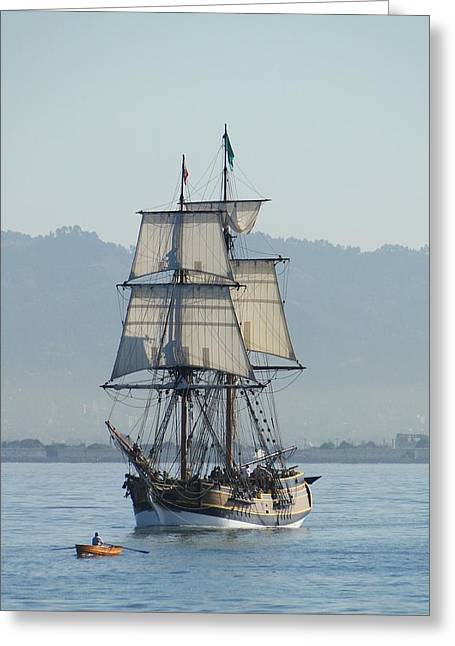 A Row With Lady Washington Greeting Card by Barrie Woodward
