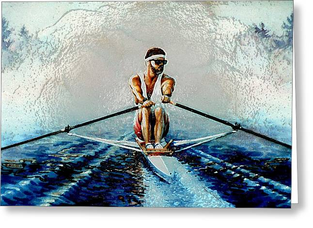 Rowing Boat Greeting Cards - A Rowers Dream Greeting Card by Hanne Lore Koehler