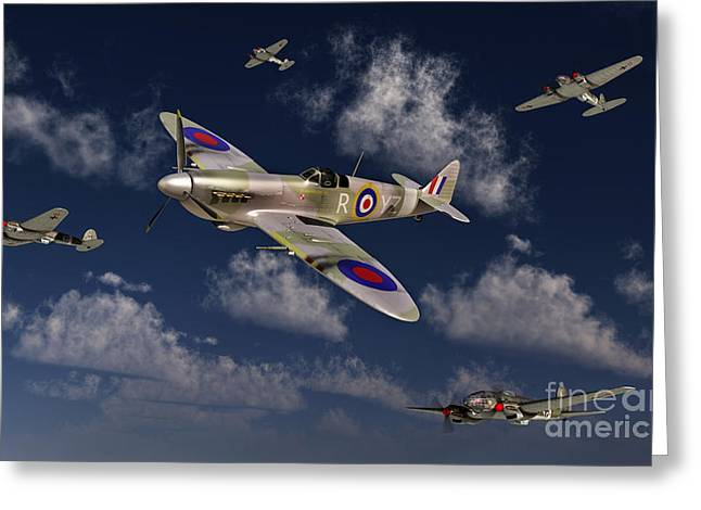 Military Airplanes Greeting Cards - A Royal Air Force Supermarine Spitfire Greeting Card by Stocktrek Images
