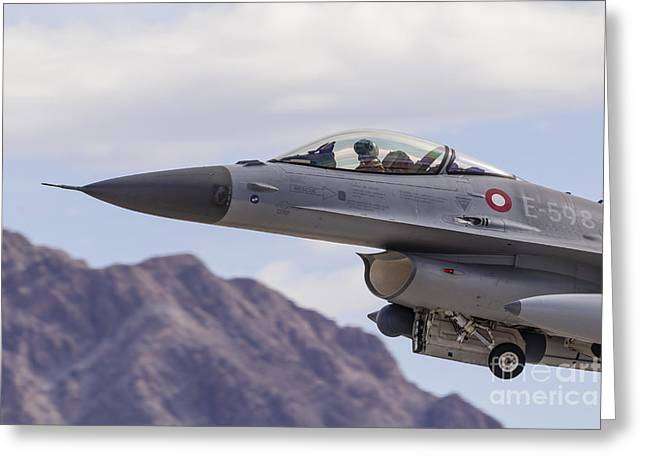 Danish Military Greeting Cards - A Royal Danish Air Force F-16am Greeting Card by Rob Edgcumbe