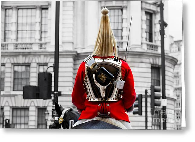 Outfit Greeting Cards - A Royal Horse Guards soldier Horse guards parade in London England Greeting Card by Michal Bednarek