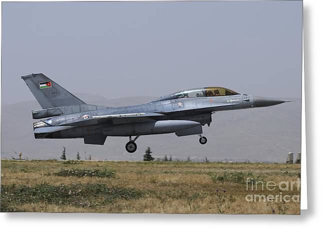 Jordanian Greeting Cards - A Royal Jordanian Air Force F-16b Greeting Card by Riccardo Niccoli