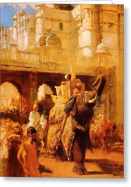Edwin A Greeting Cards - A Royal Procession Greeting Card by Edwin Lord Weeks