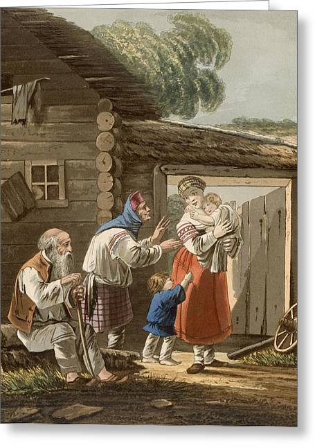Stoop Greeting Cards - A Russian Peasant Family, 1823 Greeting Card by English School