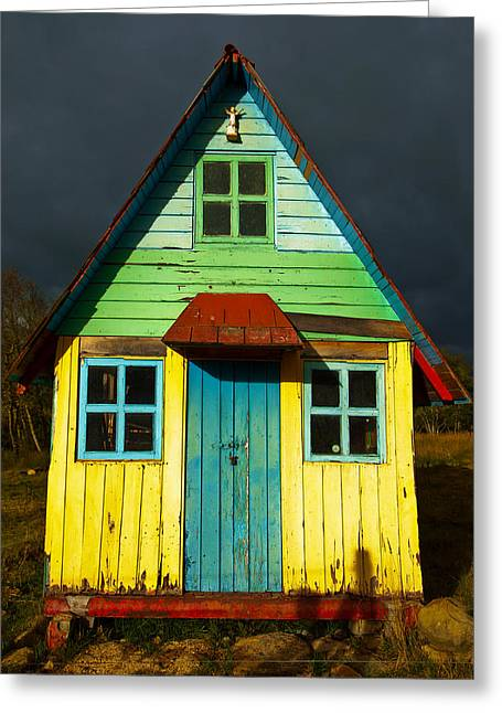Rustic House Greeting Cards - A Rustic Colorful House Greeting Card by Jess Kraft
