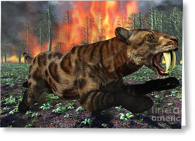 Fire In The Wood Greeting Cards - A Saber-toothed Tiger Running Away Greeting Card by Mark Stevenson