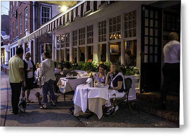 Table Wine Greeting Cards - A Sag Harbor Night  Greeting Card by Madeline Ellis