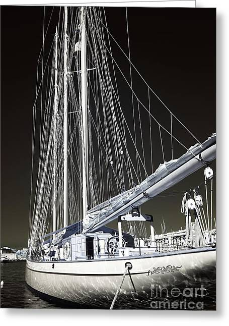 Sailboat Photos Greeting Cards - A Sailboat in Marseille Greeting Card by John Rizzuto