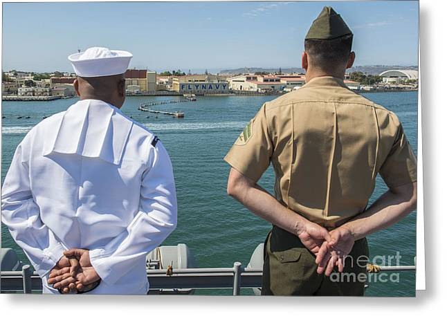 Arms Behind Back Greeting Cards - A Sailor And Marine Man The Rails Greeting Card by Stocktrek Images