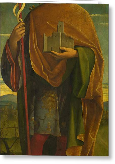 Attributes Greeting Cards - A Saint with a Fortress and a Banner Greeting Card by Attributed to Gerolamo da Santacroce