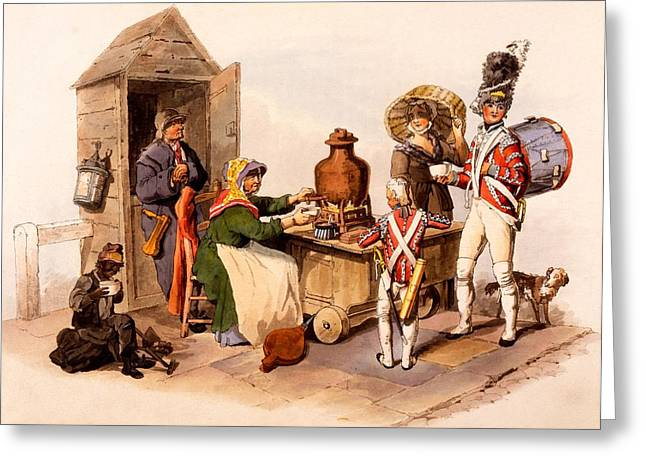 Seller Drawings Greeting Cards - A Sallop Seller Serving Heated Hot Greeting Card by William Henry Pyne