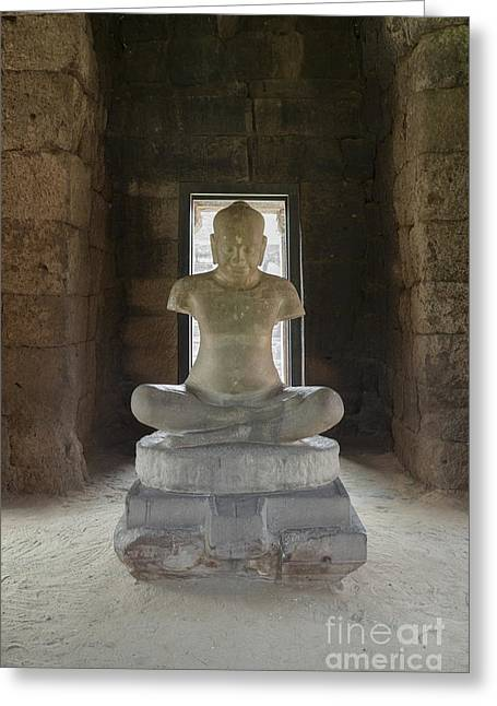 Phimai Greeting Cards - A sandstone copy of the Jayavarman VII statue  Greeting Card by Roberto Morgenthaler