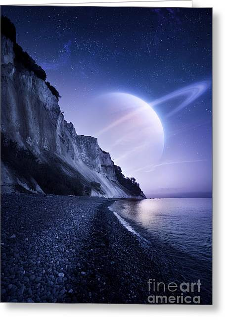 Cliffs Over Ocean Greeting Cards - A Saturn-like Planet Hovers Greeting Card by Evgeny Kuklev