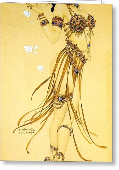 Salome Greeting Cards - A Saucy Salome Greeting Card by Pg Reproductions